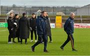 26 January 2020; Meath manager Andy McEntee, left, and selector Ronan Curtis walk the pitch alongside Tyrone players before the Allianz Football League Division 1 Round 1 match between Tyrone and Meath at Healy Park in Omagh, Tyrone. Photo by Oliver McVeigh/Sportsfile
