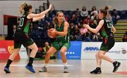 26 January 2020; Ciara Wheeler of Portlaoise Panthers in action against Eimear Máirtín, left, and Edel Thornton of Trinity Meteors during the Hula Hoops Women's Division One National Cup Final between Portlaoise Panthers and Trinity Meteors at the National Basketball Arena in Tallaght, Dublin. Photo by Brendan Moran/Sportsfile