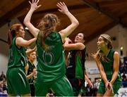 26 January 2020; Katie Kilbride of Trinity Meteors in action against Portlaoise Panthers players, from left, Claire Melia, Lisa Blaney and Ciara Wheeler during the Hula Hoops Women's Division One National Cup Final between Portlaoise Panthers and Trinity Meteors at the National Basketball Arena in Tallaght, Dublin. Photo by Brendan Moran/Sportsfile
