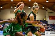 26 January 2020; Kate McDaid of Trinity Meteors in action against Trudy Walker and Claire Melia of Portlaoise Panthers during the Hula Hoops Women's Division One National Cup Final between Portlaoise Panthers and Trinity Meteors at the National Basketball Arena in Tallaght, Dublin. Photo by Brendan Moran/Sportsfile