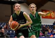 26 January 2020; Edel Thornton of Trinity Meteors in action against Ciara Byrne of Portlaoise Panthers during the Hula Hoops Women's Division One National Cup Final between Portlaoise Panthers and Trinity Meteors at the National Basketball Arena in Tallaght, Dublin. Photo by Brendan Moran/Sportsfile