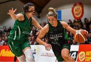 26 January 2020; Kate McDaid of Trinity Meteors in action against Jasmine Burke of Portlaoise Panthers during the Hula Hoops Women's Division One National Cup Final between Portlaoise Panthers and Trinity Meteors at the National Basketball Arena in Tallaght, Dublin. Photo by Brendan Moran/Sportsfile