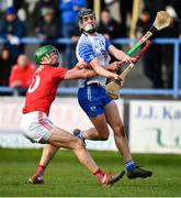 26 January 2020; Calum Lyons of Waterford in action against Seamus Harnedy of Cork during the Allianz Hurling League Division 1 Group A Round 1 match between Waterford and Cork at Walsh Park in Waterford. Photo by David Fitzgerald/Sportsfile