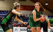 26 January 2020; Claire Melia of Portlaoise Panthers in action against Kate McDaid of Trinity Meteors during the Hula Hoops Women's Division One National Cup Final between Portlaoise Panthers and Trinity Meteors at the National Basketball Arena in Tallaght, Dublin. Photo by Brendan Moran/Sportsfile