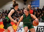 26 January 2020; Gillian Wheeler of Portlaoise Panthers in action against Edel Thornton of Trinity Meteors during the Hula Hoops Women's Division One National Cup Final between Portlaoise Panthers and Trinity Meteors at the National Basketball Arena in Tallaght, Dublin. Photo by Brendan Moran/Sportsfile