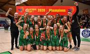 26 January 2020; The Portlaoise Panthers team celebrate after the Hula Hoops Women's Division One National Cup Final between Portlaoise Panthers and Trinity Meteors at the National Basketball Arena in Tallaght, Dublin. Photo by Brendan Moran/Sportsfile