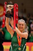 26 January 2020; Portlaoise Panthers captain Deirdre Tomlinson lifts the cup after the Hula Hoops Women's Division One National Cup Final between Portlaoise Panthers and Trinity Meteors at the National Basketball Arena in Tallaght, Dublin. Photo by Brendan Moran/Sportsfile