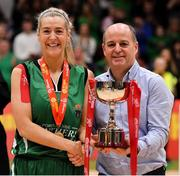 26 January 2020; Portlaoise Panthers captain Deirdre Tomlinson is presented with the cup by Paul McDevitt, Chairman, Basketball Ireland, after the Hula Hoops Women's Division One National Cup Final between Portlaoise Panthers and Trinity Meteors at the National Basketball Arena in Tallaght, Dublin. Photo by Brendan Moran/Sportsfile