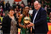 26 January 2020; Trudy Walker of Portlaoise Panthers is presented with the MVP by Basketball Ireland Secretary General Bernard O'Byrne, in the company of Basketball Ireland President Theresa Walsh, after the Hula Hoops Women's Division One National Cup Final between Portlaoise Panthers and Trinity Meteors at the National Basketball Arena in Tallaght, Dublin. Photo by Brendan Moran/Sportsfile