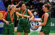 26 January 2020; Portlaoise Panthers players, from left, Deirdre Tomlinson, Shauna Burke and Gillian Wheeler of Portlaoise Panthers celebrate after the Hula Hoops Women's Division One National Cup Final between Portlaoise Panthers and Trinity Meteors at the National Basketball Arena in Tallaght, Dublin. Photo by Brendan Moran/Sportsfile