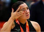 26 January 2020; A disappointed Katie Kilbride of Trinity Meteors wipes a tear from her eye after the Hula Hoops Women's Division One National Cup Final between Portlaoise Panthers and Trinity Meteors at the National Basketball Arena in Tallaght, Dublin. Photo by Brendan Moran/Sportsfile