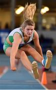 26 January 2020; Laura Cunningham of Craughwell AC, Galway, competes in the Women's Triple Jump event during the AAI National Indoor League Round 2 at AIT Indoor Arena in Athlone, Westmeath. Photo by Ben McShane/Sportsfile