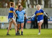 26 January 2020; Aishling Moloney of Tipperary and Leah Caffrey of Dublin embrace following the 2020 Lidl Ladies National Football League Division 1 Round 1 match between Dublin and Tipperary at St Endas GAA club in Ballyboden, Dublin. Photo by Harry Murphy/Sportsfile