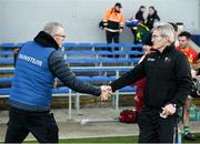 26 January 2020; Clare manager Brian Lohan and Carlow manager Colm Bonnar exchange a handshake after the Allianz Hurling League Division 1 Group B Round 1 match between Clare and Carlow at Cusack Park in Ennis, Clare. Photo by Diarmuid Greene/Sportsfile