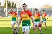 26 January 2020; Carlow players including John Michael Nolan leave the field after the Allianz Hurling League Division 1 Group B Round 1 match between Clare and Carlow at Cusack Park in Ennis, Clare. Photo by Diarmuid Greene/Sportsfile