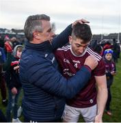 26 January 2020; Galway manager Padraic Joyce celebrates with Johnny Heaney of Galway after the Allianz Football League Division 1 Round 1 match between Galway and Monaghan at Pearse Stadium in Galway. Photo by Daire Brennan/Sportsfile