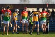 26 January 2020; Edward Byrne of Carlow is shown a red card by referee Liam Gordon during the Allianz Hurling League Division 1 Group B Round 1 match between Clare and Carlow at Cusack Park in Ennis, Clare. Photo by Diarmuid Greene/Sportsfile