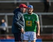 26 January 2020; Westmeath manager Shane O'Brien speaks to Joey Boyle of Westmeath ahead of the Allianz Hurling League Division 1 Group A Round 1 match between Galway and Westmeath at Pearse Stadium in Galway. Photo by Daire Brennan/Sportsfile