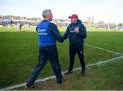 26 January 2020; Westmeath manager Shane O'Brien shakes hands with Galway manager Shane O'Neill after the Allianz Hurling League Division 1 Group A Round 1 match between Galway and Westmeath at Pearse Stadium in Galway. Photo by Daire Brennan/Sportsfile