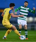 26 January 2020; Danny Lafferty of Shamrock Rovers in action against Sam Bone of Waterford during the Pre-Season Friendly match between Waterford and Shamrock Rovers at RSC in Waterford. Photo by David Fitzgerald/Sportsfile