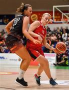 26 January 2020; Greta Tamasanskaite of Singleton Supervalu Brunell in action against Ella McCloskey of Pyrobel Killester  during the Hula Hoops Paudie O'Connor National Cup Final between Singleton SuperValu Brunell and Pyrobel Killester at the National Basketball Arena in Tallaght, Dublin. Photo by Brendan Moran/Sportsfile