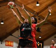 26 January 2020; Adella Randle El of Pyrobel Killester has her shot blocked by Aryn McClure of Singleton Supervalu Brunell during the Hula Hoops Paudie O'Connor National Cup Final between Singleton SuperValu Brunell and Pyrobel Killester at the National Basketball Arena in Tallaght, Dublin. Photo by Brendan Moran/Sportsfile