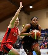 26 January 2020; Adella Randle El of Pyrobel Killester in action against Greta Tamasanskaite of Singleton Supervalu Brunell during the Hula Hoops Paudie O'Connor National Cup Final between Singleton SuperValu Brunell and Pyrobel Killester at the National Basketball Arena in Tallaght, Dublin. Photo by Brendan Moran/Sportsfile