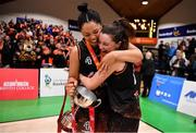 26 January 2020; Pyrobel Killester players Leah Rutherford, left, and Rebecca Nagle celebrate after the Hula Hoops Paudie O'Connor National Cup Final between Singleton SuperValu Brunell and Pyrobel Killester at the National Basketball Arena in Tallaght, Dublin. Photo by Brendan Moran/Sportsfile
