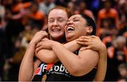 26 January 2020; Pyrobel Killester players Ciara Curran, left, and Leah Rutherford celebrate after the Hula Hoops Paudie O'Connor National Cup Final between Singleton SuperValu Brunell and Pyrobel Killester at the National Basketball Arena in Tallaght, Dublin. Photo by Brendan Moran/Sportsfile