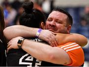 26 January 2020; Pyrobel Killester coach Karl Kilbride clebrates with Leah Rutherford after the Hula Hoops Paudie O'Connor National Cup Final between Singleton SuperValu Brunell and Pyrobel Killester at the National Basketball Arena in Tallaght, Dublin. Photo by Brendan Moran/Sportsfile