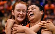 26 January 2020; Ciara Curran, left, and Leah Rutherford of Pyrobel Killester celebrate after the Hula Hoops Paudie O'Connor National Cup Final between Singleton SuperValu Brunell and Pyrobel Killester at the National Basketball Arena in Tallaght, Dublin. Photo by Brendan Moran/Sportsfile
