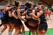 26 January 2020; Pyrobel Killester players celebrate at the final buzzer of the Hula Hoops Paudie O'Connor National Cup Final between Singleton SuperValu Brunell and Pyrobel Killester at the National Basketball Arena in Tallaght, Dublin. Photo by Brendan Moran/Sportsfile