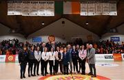 26 January 2020; The Naomh Mhuire Cup winning team from 1995 are honoured during half-time of the Hula Hoops Paudie O'Connor National Cup Final between Singleton SuperValu Brunell and Pyrobel Killester at the National Basketball Arena in Tallaght, Dublin. Photo by Brendan Moran/Sportsfile