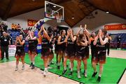 26 January 2020; Pyrobel Killester players celebrate after the Hula Hoops Paudie O'Connor National Cup Final between Singleton SuperValu Brunell and Pyrobel Killester at the National Basketball Arena in Tallaght, Dublin. Photo by Brendan Moran/Sportsfile