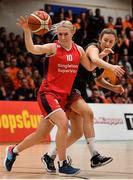 26 January 2020; Greta Tamasanskaite of Singleton Supervalu Brunell in action against Jenna Howe of Pyrobel Killester after the Hula Hoops Paudie O'Connor National Cup Final between Singleton SuperValu Brunell and Pyrobel Killester at the National Basketball Arena in Tallaght, Dublin. Photo by Brendan Moran/Sportsfile