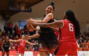 26 January 2020; Leah Rutherford of Pyrobel Killester in action against Aryn McClure of Singleton Supervalu Brunell during the Hula Hoops Paudie O'Connor National Cup Final between Singleton SuperValu Brunell and Pyrobel Killester at the National Basketball Arena in Tallaght, Dublin. Photo by Brendan Moran/Sportsfile