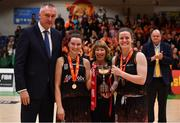 26 January 2020; Pyrobel Killester co-captains Rebecca Nagle and Aisling McCann are presented with teh cup by Mary baneham, in the company of Kamil Novak, Secretary General of FIBA Europe, after the Hula Hoops Paudie O'Connor National Cup Final between Singleton SuperValu Brunell and Pyrobel Killester at the National Basketball Arena in Tallaght, Dublin. Photo by Brendan Moran/Sportsfile