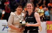 26 January 2020; Aisling McCann of Pyrobel Killester is presented with her international cap by Basketball Ireland President Theresa Walsh after the Hula Hoops Paudie O'Connor National Cup Final between Singleton SuperValu Brunell and Pyrobel Killester at the National Basketball Arena in Tallaght, Dublin. Photo by Brendan Moran/Sportsfile