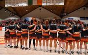 26 January 2020; The Pyrobel Killester team stand for the Amhrán na bhFiann prior to the Hula Hoops Paudie O'Connor National Cup Final between Singleton SuperValu Brunell and Pyrobel Killester at the National Basketball Arena in Tallaght, Dublin. Photo by Brendan Moran/Sportsfile