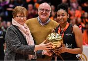 26 January 2020; Christa Reed of Pyrobel Killester is presented with the MVP by Annette O'Toole, WNLC, in the company of Paul McDermott, Director, National Governing Bodies & High Performance at Sport Ireland, after the Hula Hoops Paudie O'Connor National Cup Final between Singleton SuperValu Brunell and Pyrobel Killester at the National Basketball Arena in Tallaght, Dublin. Photo by Brendan Moran/Sportsfile