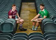 27 January 2020; Conor Whelan of Galway and Tom Morrissey of Limerick stand for a portrait during a media event at the Gaelic Grounds Limerick in advance of the Allianz Hurling League Division 1 Group A Round 2 match between Limerick and Galway on Sunday. Photo by Harry Murphy/Sportsfile