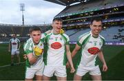 25 January 2020; Na Gaeil players, from left, Dara Devine, Diarmuid O'Connor and Jack Barry following the AIB GAA Football All-Ireland Junior Club Championship Final match between Na Gaeil and Rathgarogue-Cushinstown at Croke Park in Dublin. Photo by Ramsey Cardy/Sportsfile