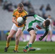 25 January 2020; Brian O'Neill of Rathgarogue-Cushinstown in action against Ian McCarthy of Na Gaeil during the AIB GAA Football All-Ireland Junior Club Championship Final match between Na Gaeil and Rathgarogue-Cushinstown at Croke Park in Dublin. Photo by Ramsey Cardy/Sportsfile