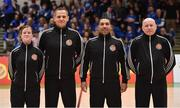 25 January 2020; Match officials, from left, Emma Perry, Maciej Nazimek, David Caballe and Martin McGettrick prior to the Hula Hoops Pat Duffy National Cup Final between DBS Éanna and Griffith College Templeogue at the National Basketball Arena in Tallaght, Dublin. Photo by Brendan Moran/Sportsfile
