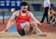 26 January 2020; Conall Mahon of Tir Chonaill AC, Donegal, competes in the Men's Triple Jump event during the AAI National Indoor League Round 2 at AIT Indoor Arena in Athlone, Westmeath. Photo by Ben McShane/Sportsfile