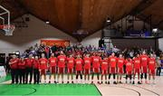 25 January 2020; The Griffith College Templeogue team stand for Amhrán na bhFiann prior to the Hula Hoops Pat Duffy National Cup Final between DBS Éanna v Griffith College Templeogue at the National Basketball Arena in Tallaght, Dublin. Photo by Brendan Moran/Sportsfile
