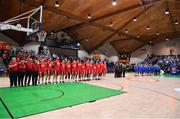 25 January 2020; The teams stand for Amhrán na bhFiann prior to the Hula Hoops Pat Duffy National Cup Final between DBS Éanna v Griffith College Templeogue at the National Basketball Arena in Tallaght, Dublin. Photo by Brendan Moran/Sportsfile