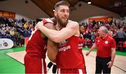 25 January 2020; Padraig Burke of Griffith College Templeogue celebrates with team-mate Darren Townes after the Hula Hoops Pat Duffy National Cup Final between DBS Éanna and Griffith College Templeogue at the National Basketball Arena in Tallaght, Dublin. Photo by Brendan Moran/Sportsfile