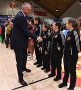 26 January 2020; Secretary General of FIBA Europe Kamil Novak meets Referee Lynda Cassidy prior to the Hula Hoops Paudie O'Connor National Cup Final between Singleton SuperValu Brunell and Pyrobel Killester at the National Basketball Arena in Tallaght, Dublin. Photo by Brendan Moran/Sportsfile