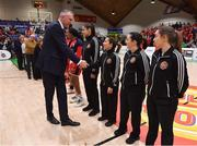 26 January 2020; Secretary General of FIBA Europe Kamil Novak meets Referee Ines Freire prior to the Hula Hoops Paudie O'Connor National Cup Final between Singleton SuperValu Brunell and Pyrobel Killester at the National Basketball Arena in Tallaght, Dublin. Photo by Brendan Moran/Sportsfile